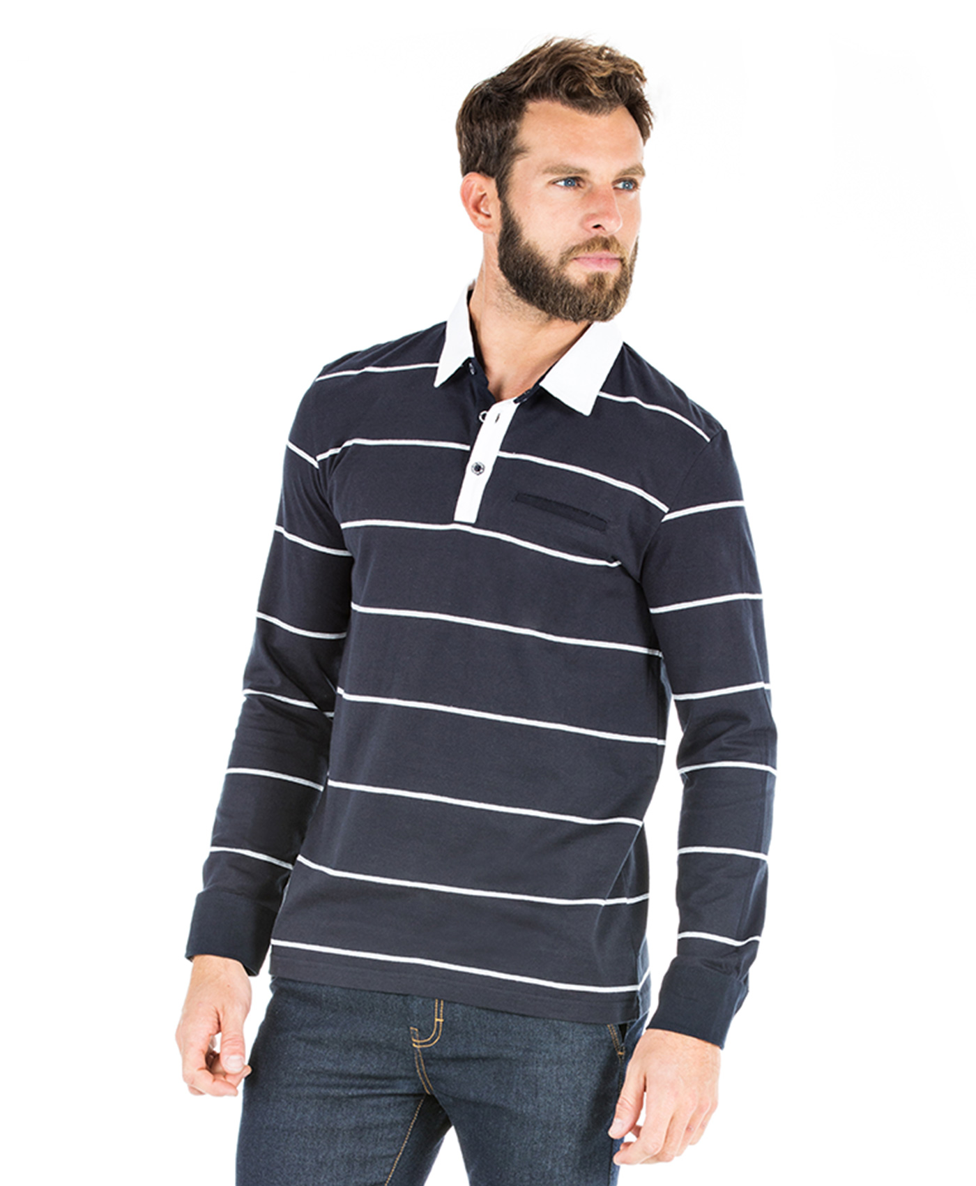 Polo rayé manches longues homme - Mode marine Homme