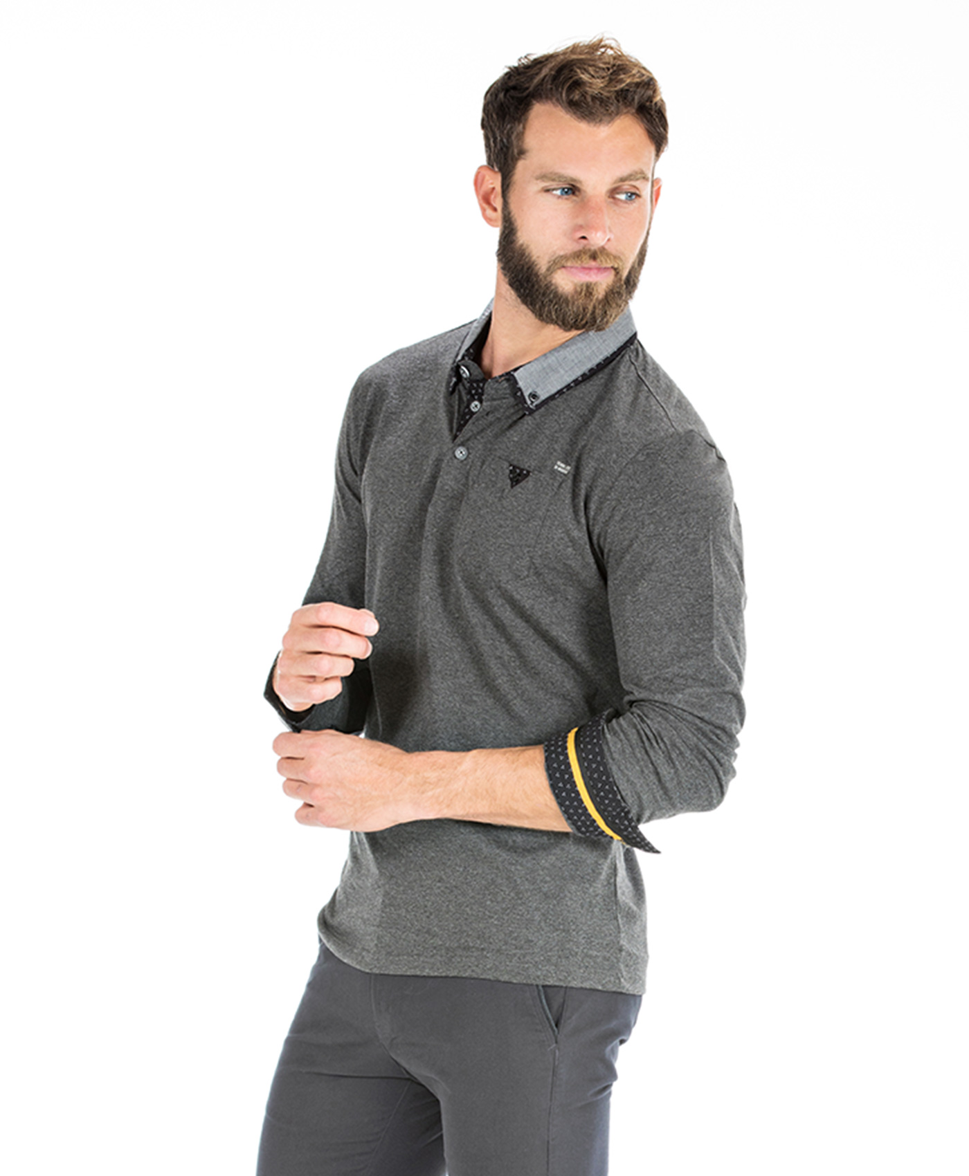 Polo gris chiné homme - Mode marine Homme