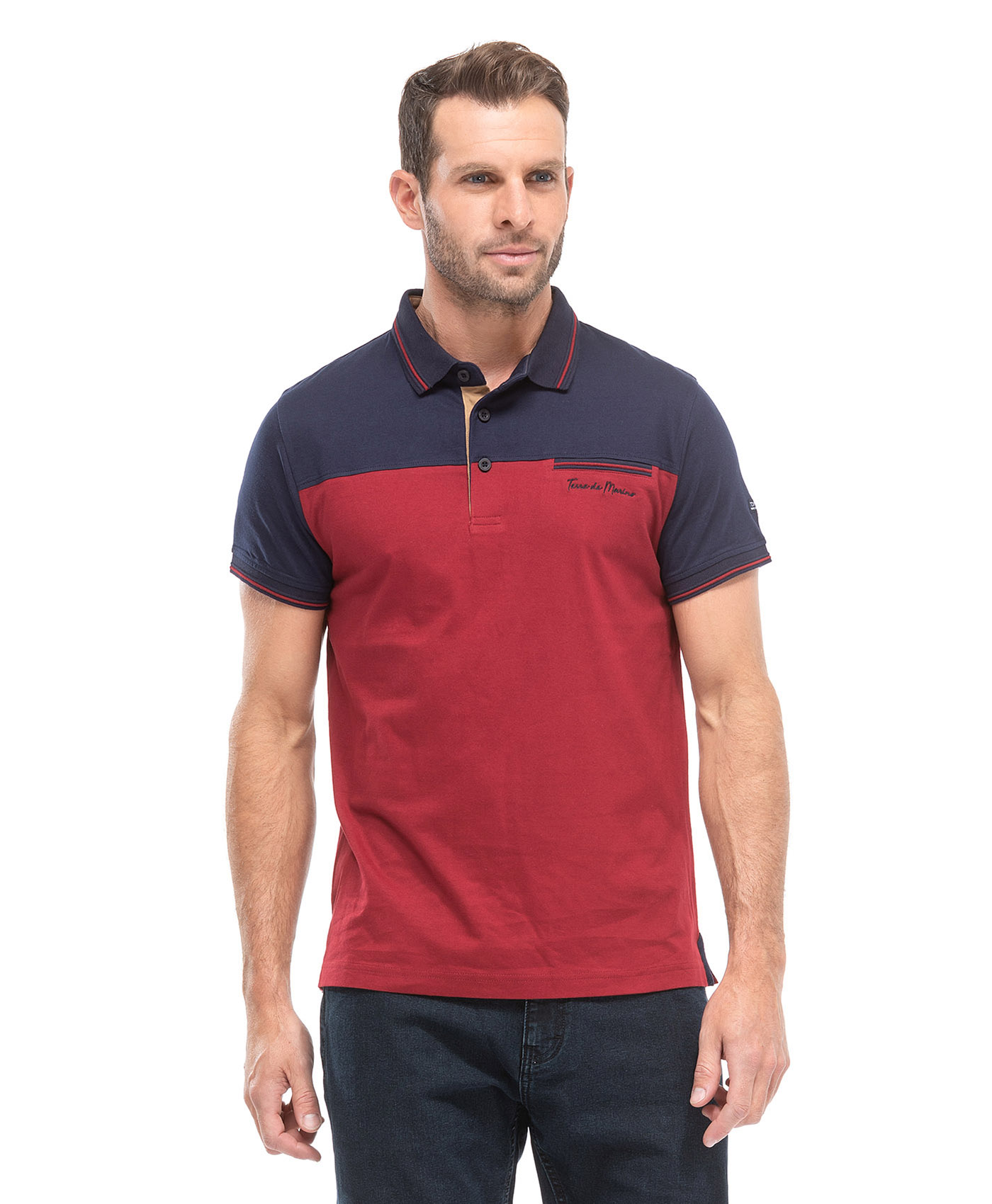 Polo manches courtes bicolore homme - Mode marine Homme