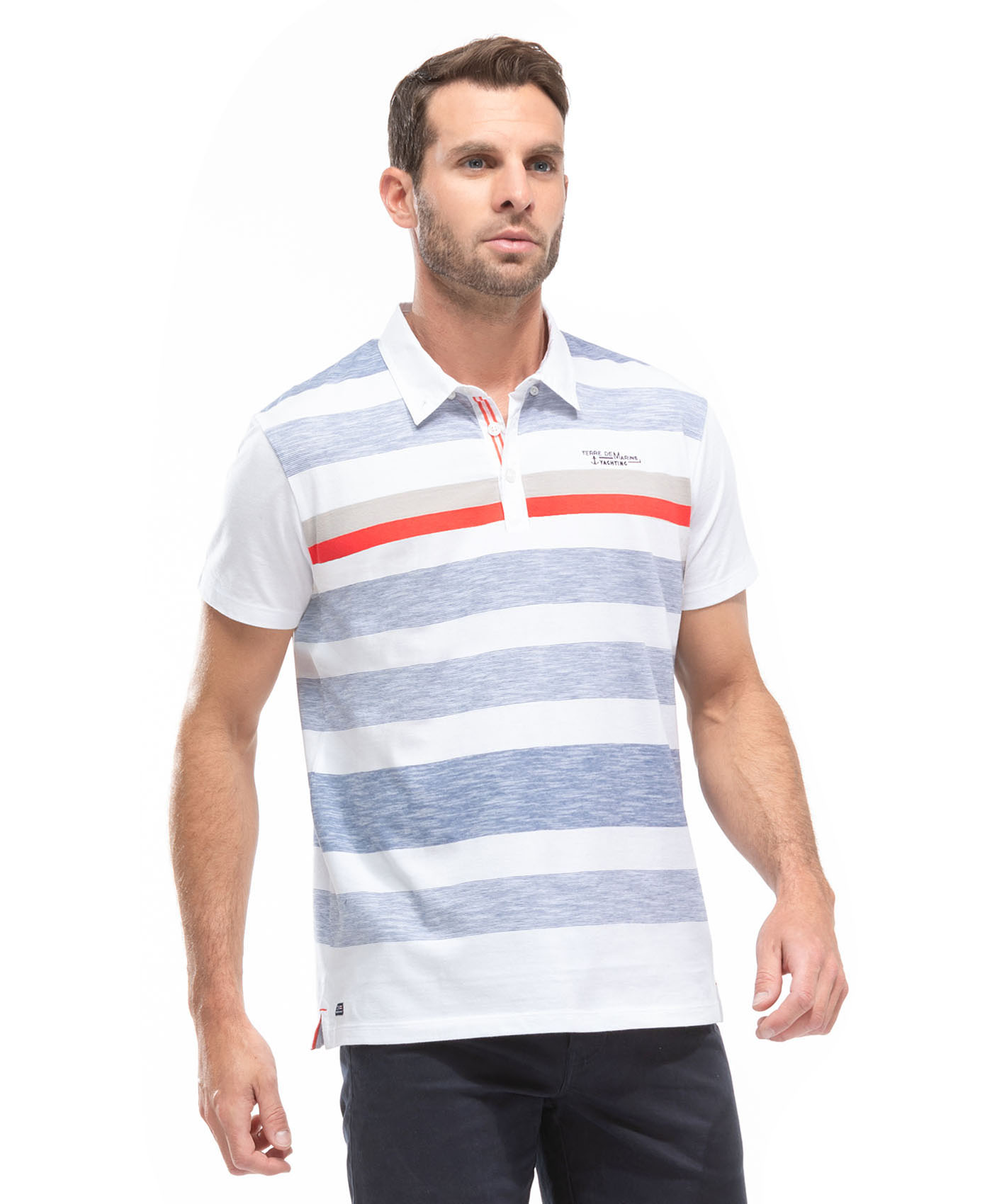Polo manches courtes homme à rayures - Mode marine Homme