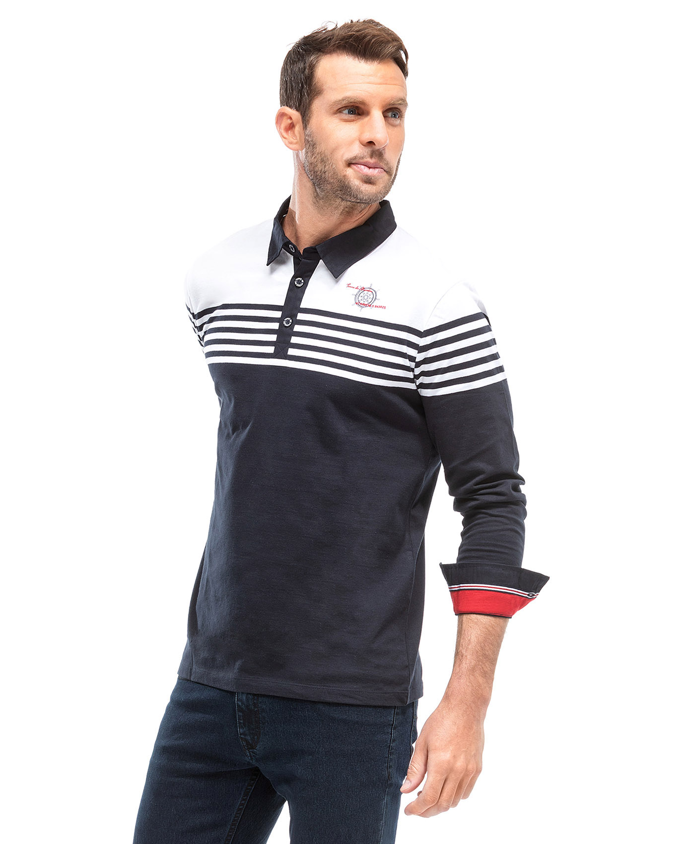 Polo manches longues homme bicolore - Mode marine Homme