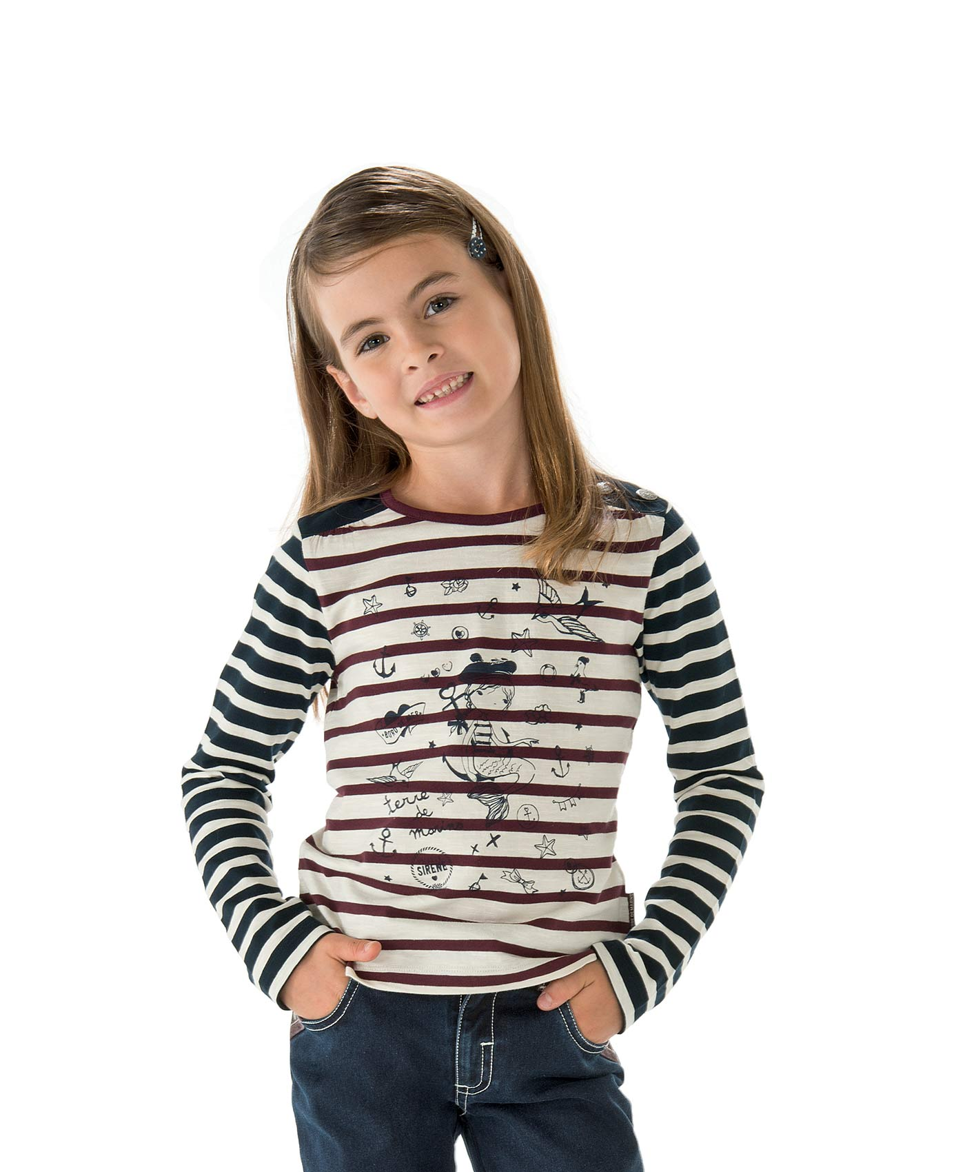 Tee-shirt fille rayé naturel - Mode marine Enfant fille