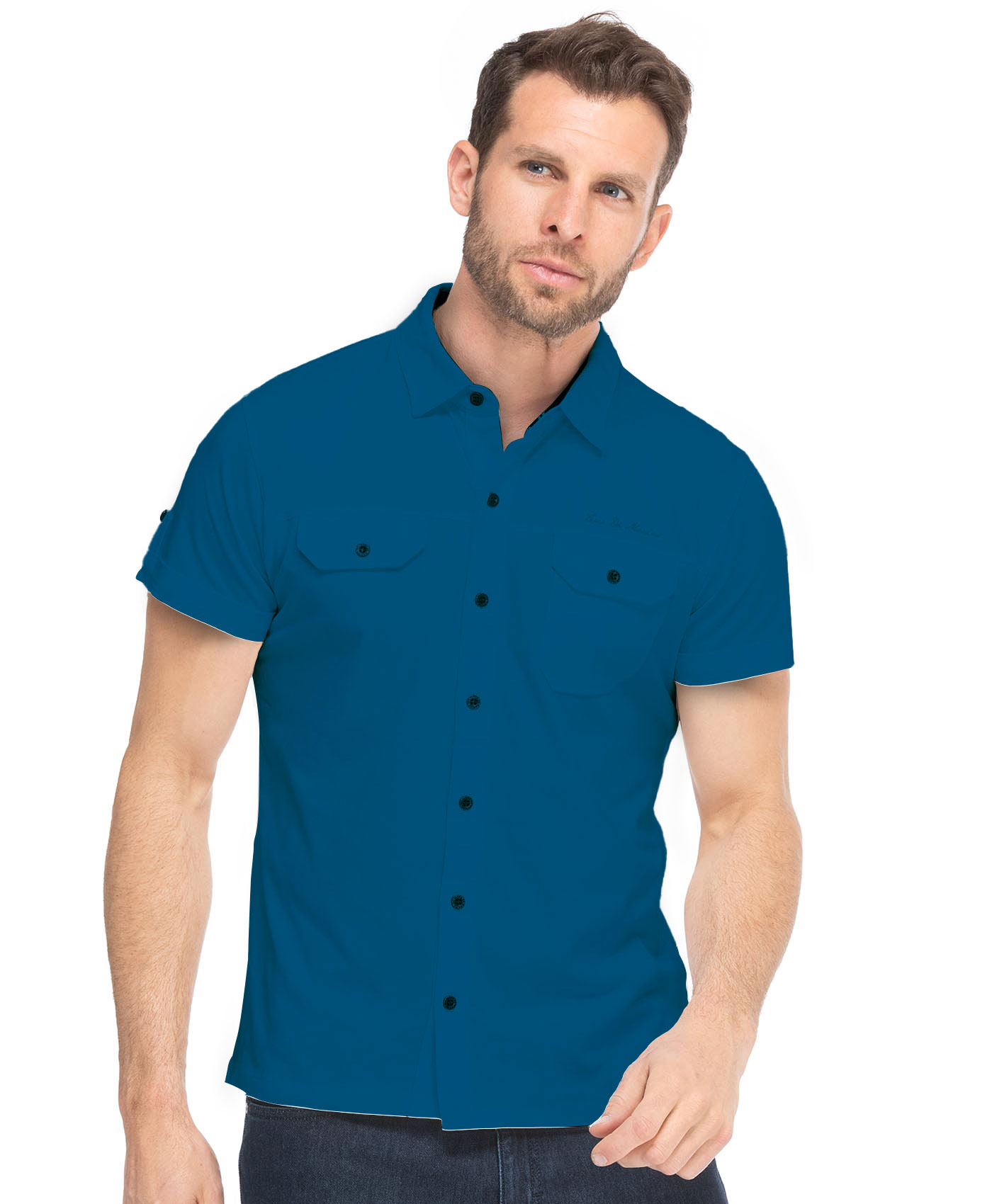 Chemise manches courtes à poches homme - Mode marine Homme