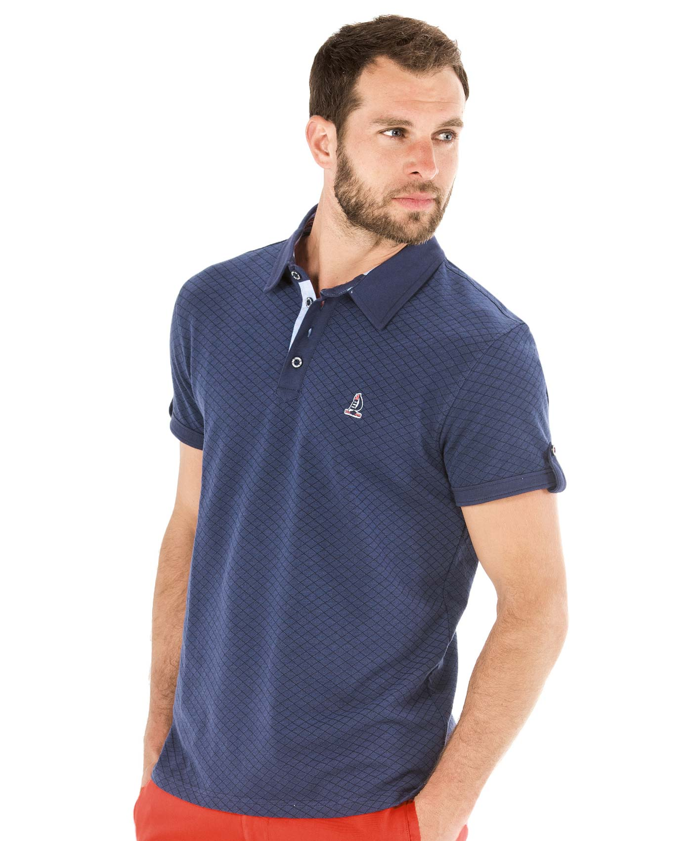 Polo manches courtes homme jacquard - Mode marine Homme
