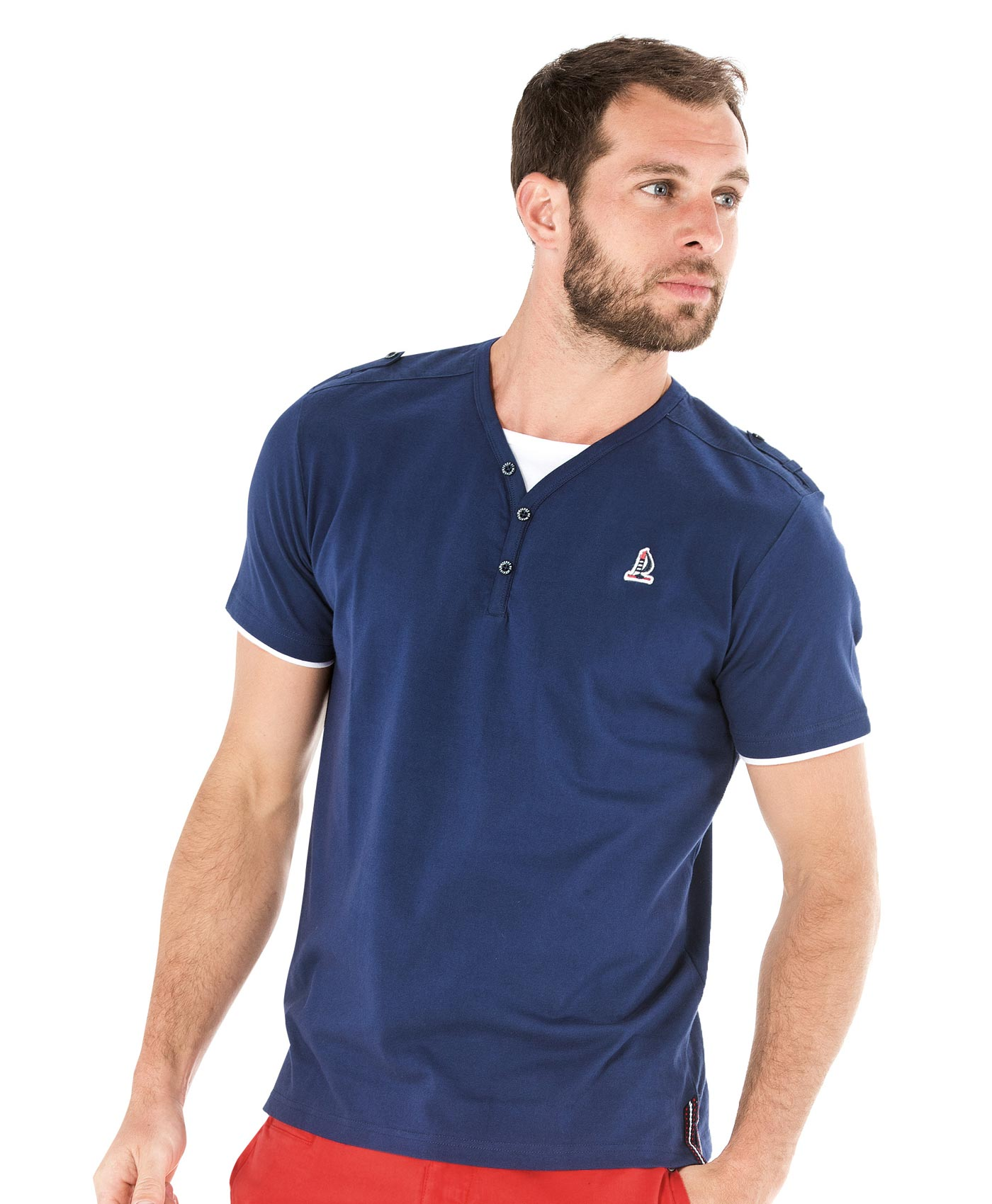 Tee-shirt manches courtes homme bleu encre - Mode marine Homme