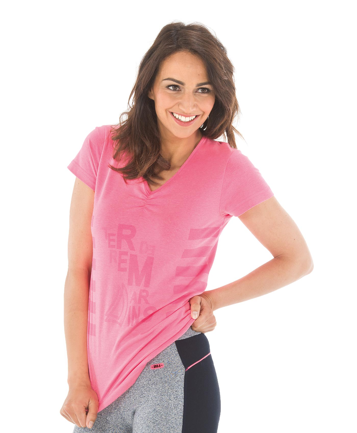 Tee-shirt manches courtes femme rose fluo chiné - Mode marine Femme
