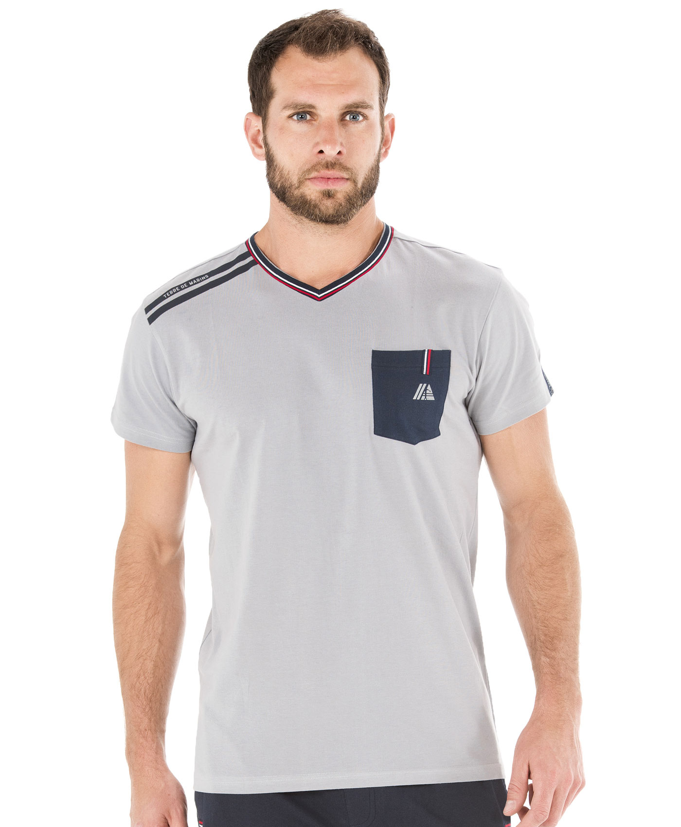 Tee-shirt manches courtes homme gris galet - Mode marine Homme