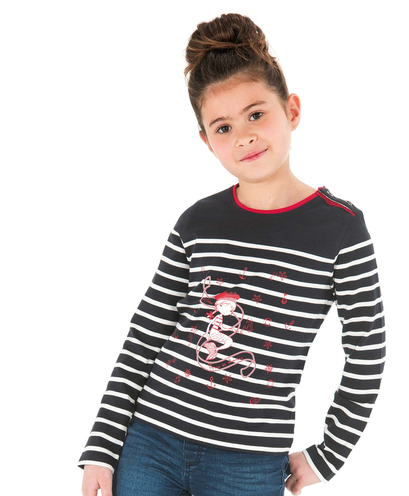 Tee-shirt manches longues fille rayé marine - Mode marine Enfant fille