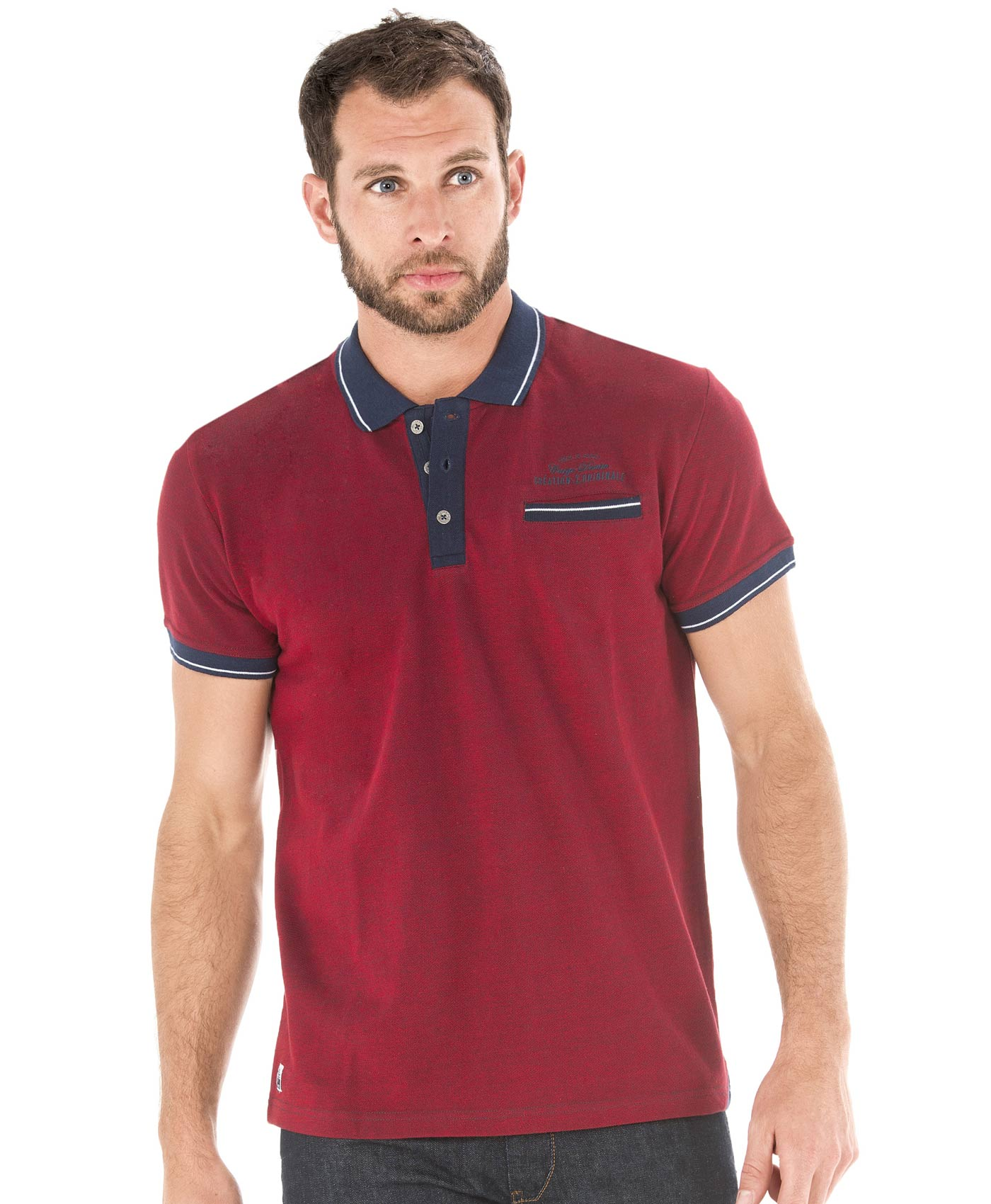 Polo manches courtes homme rouge madder - Mode marine Homme