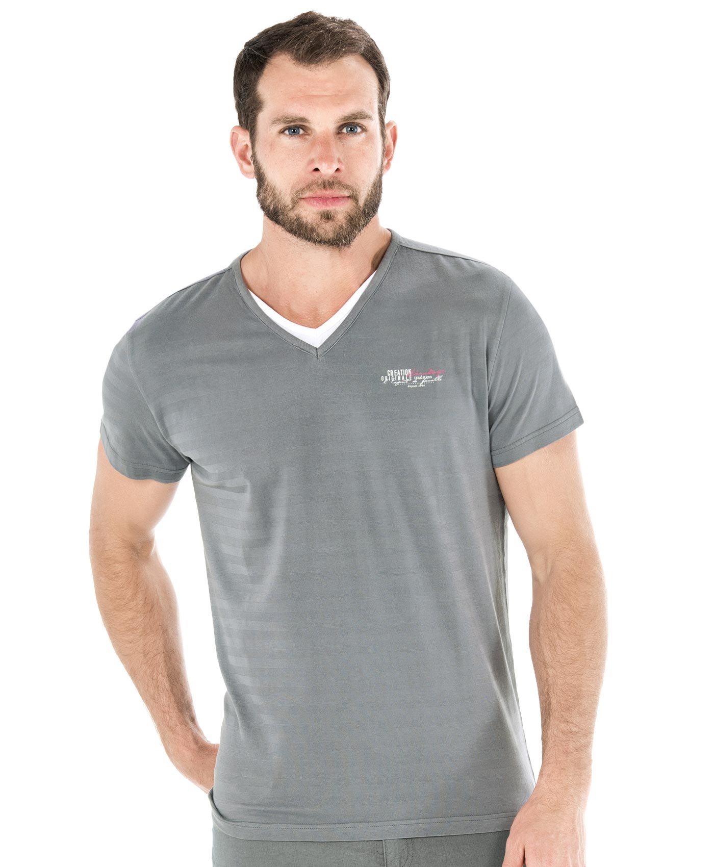 Tee-shirt manches courtes homme rayé gris - Mode marine Homme