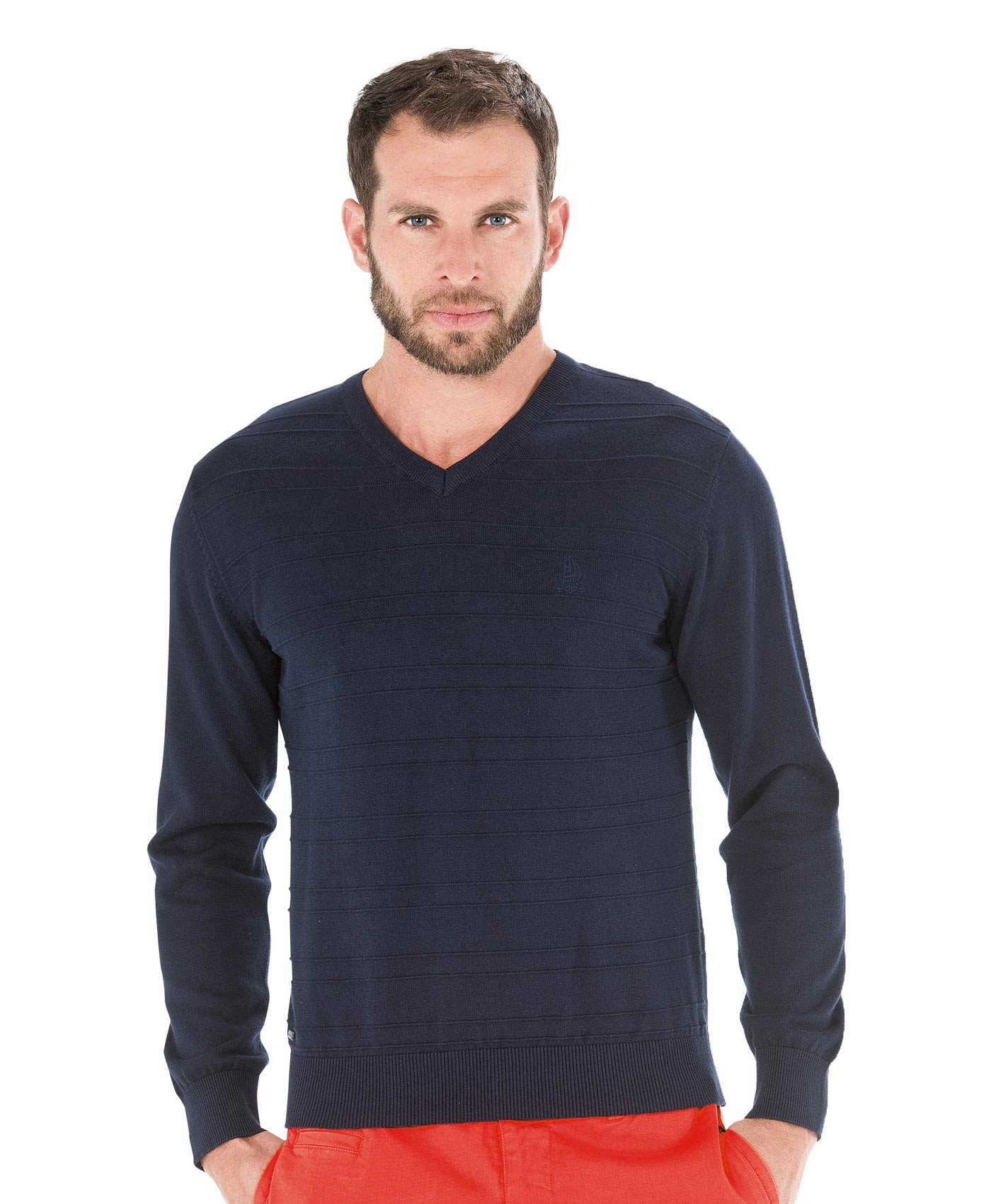 Pull col v homme - Mode marine Sélections