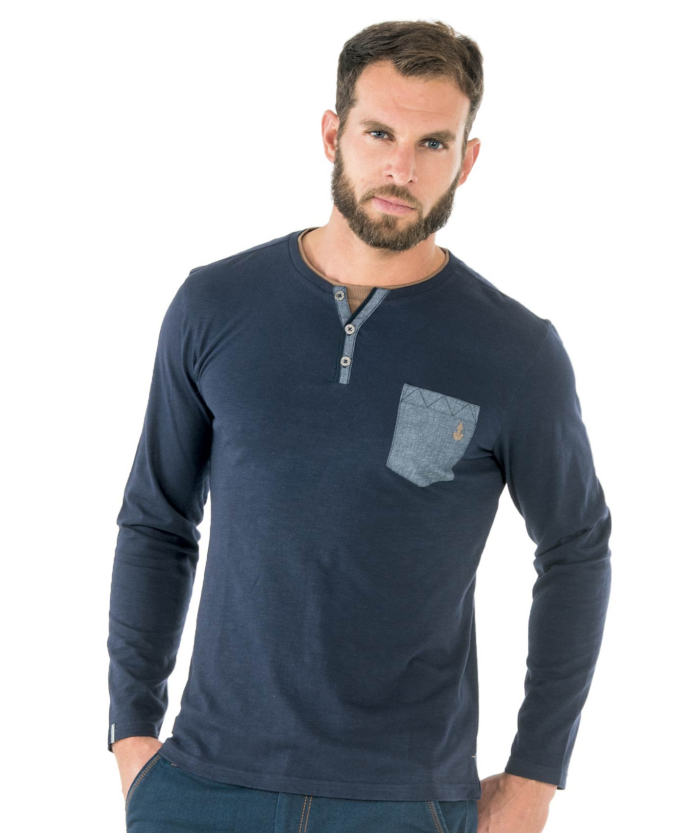 Tee-shirt manches longues homme bleu nuit - Mode marine Homme