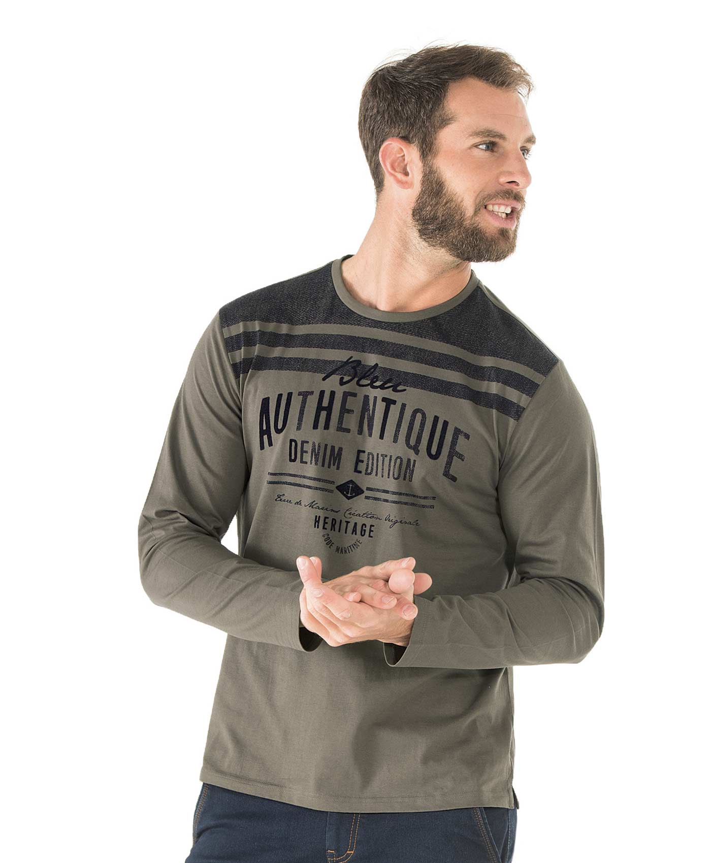 Tee-shirt manches longues homme vert laurier - Mode marine Homme