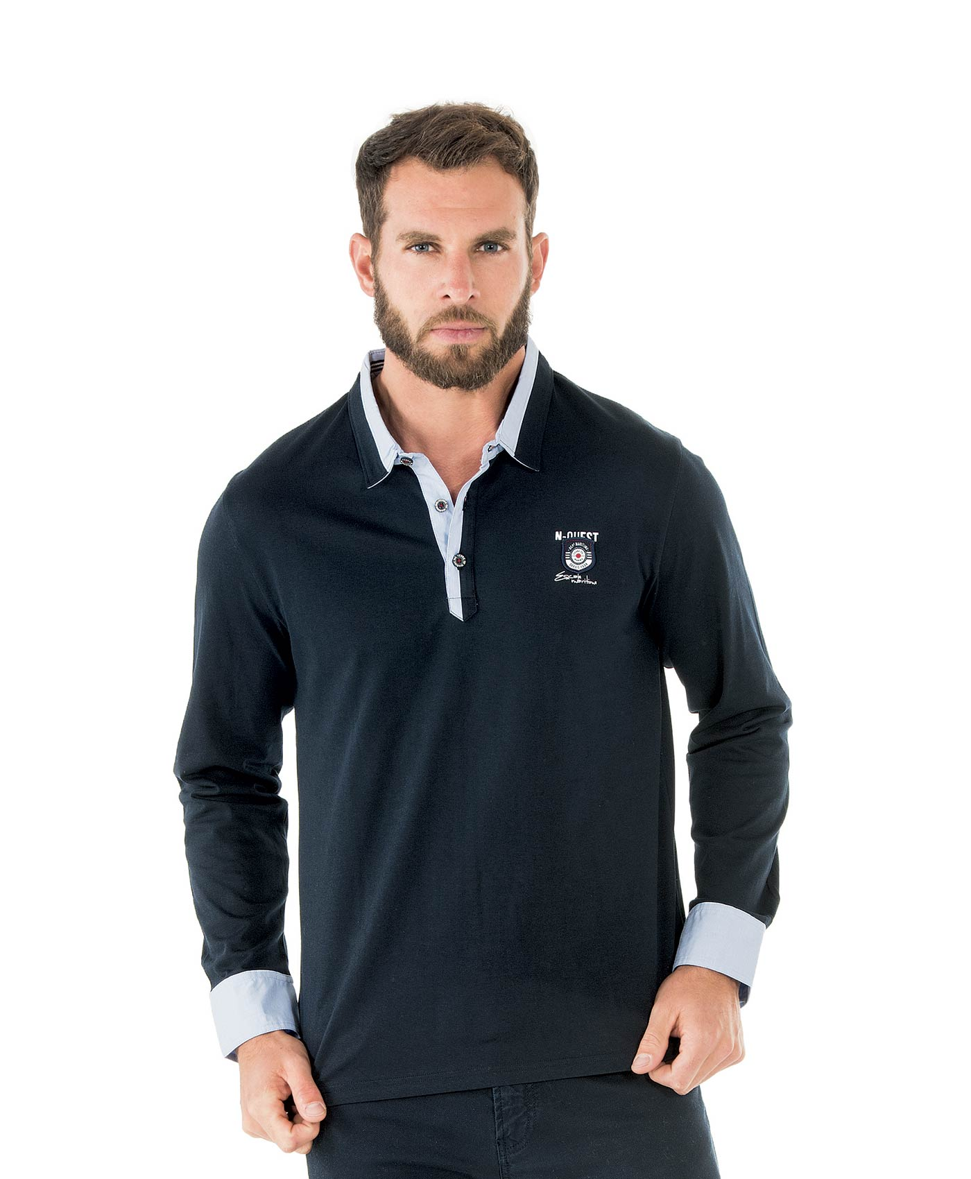 Polo manches longues homme marine_0
