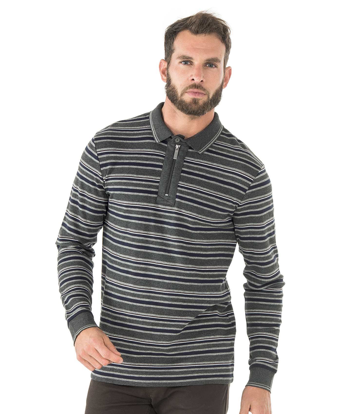 Polo manches longues homme rayé gris - Mode marine Homme