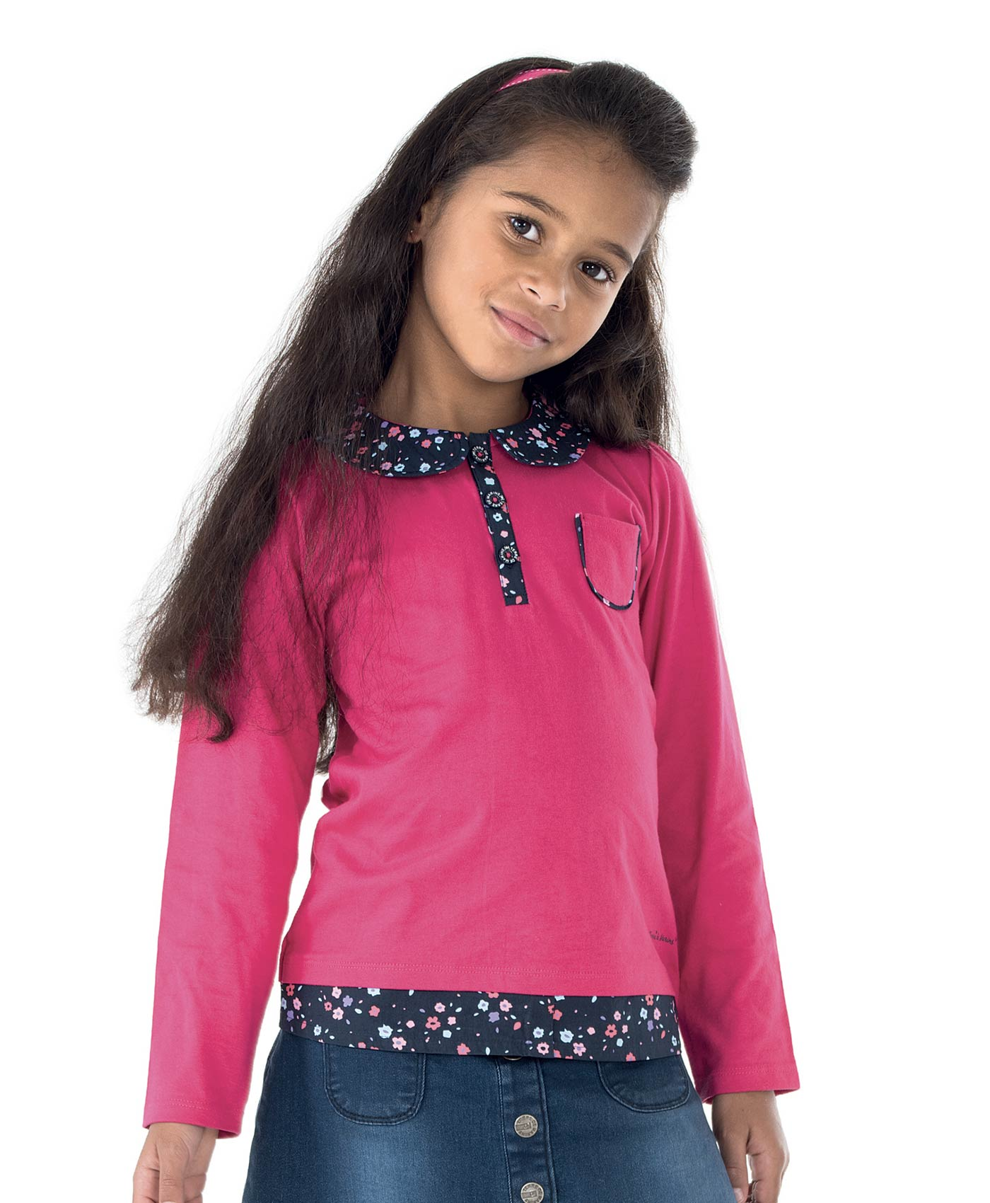 Polo manches longues enfant fille framboise_0