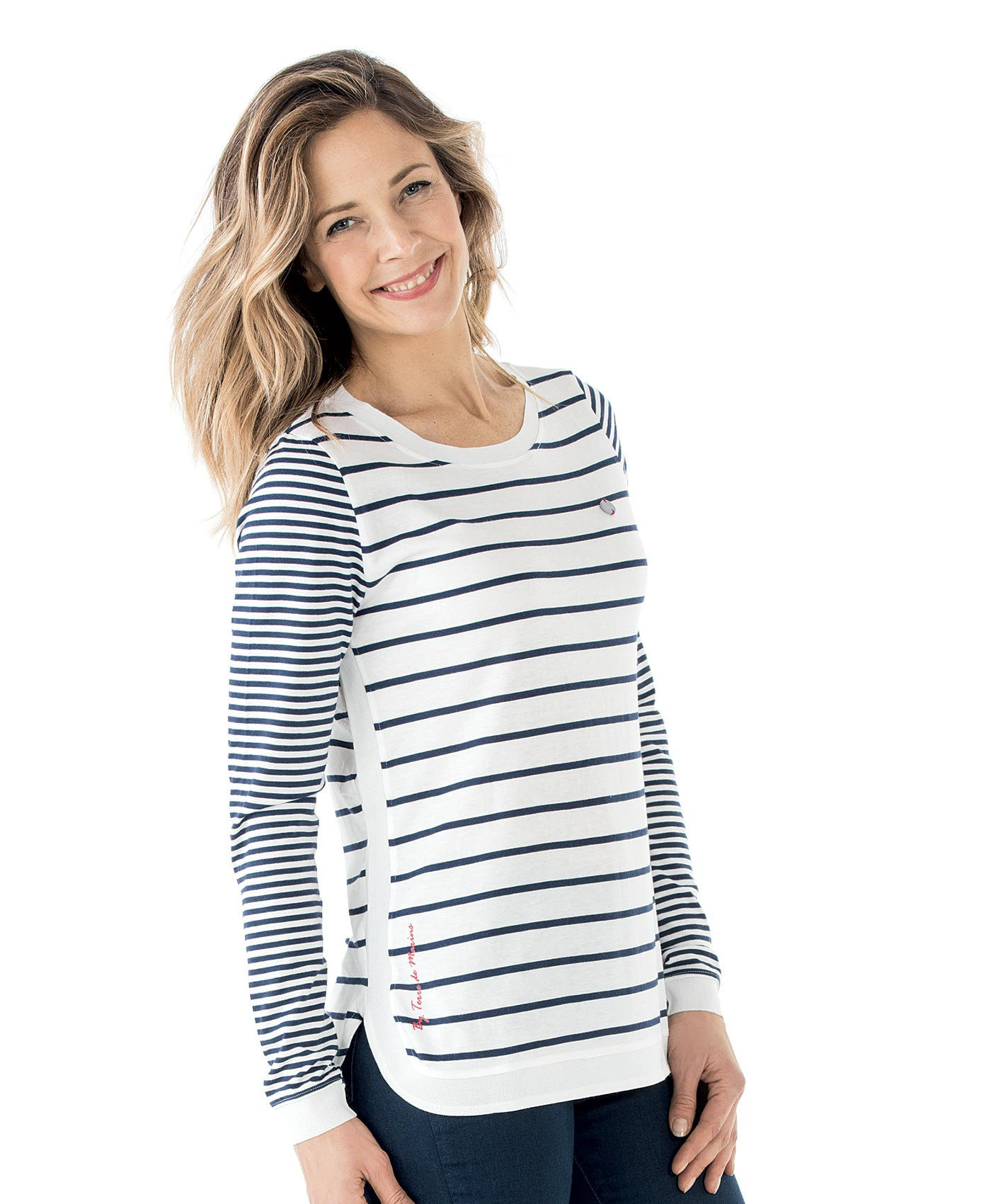 Tee-shirt manches longues femme rayé_0