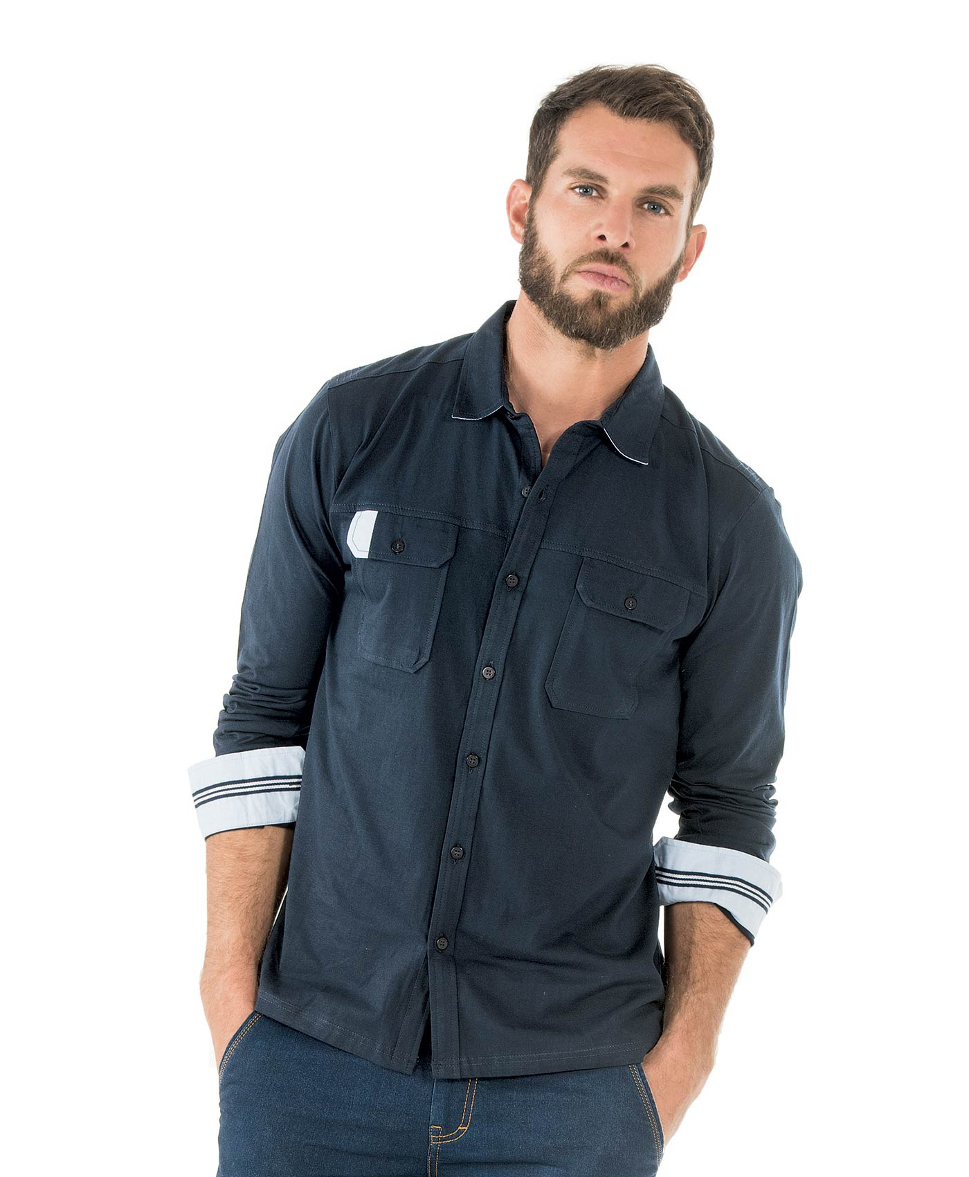 Chemise manches longues homme marine - Mode marine Homme