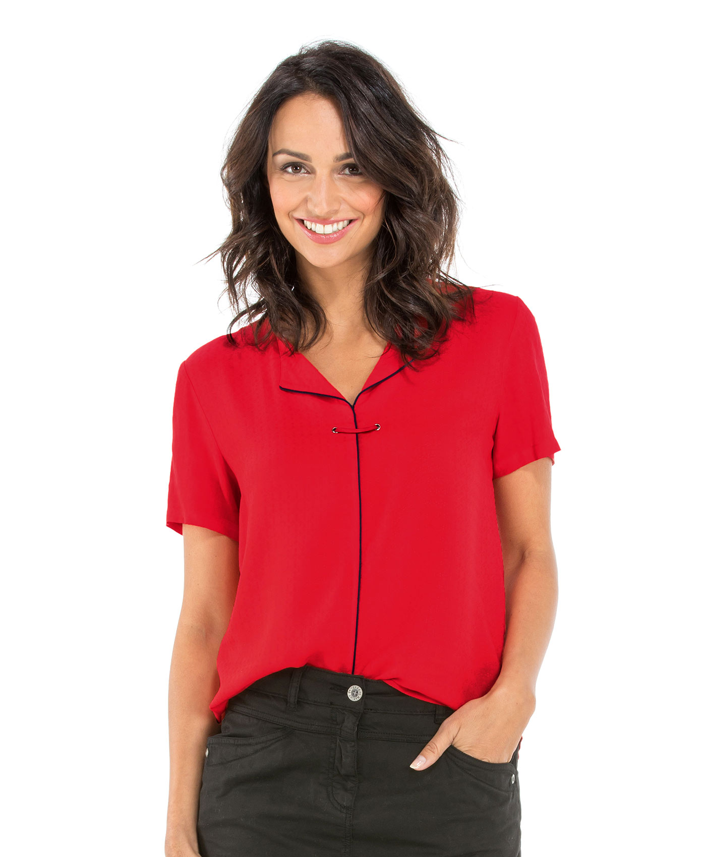 Blouse manches courtes femme rouge madder_0