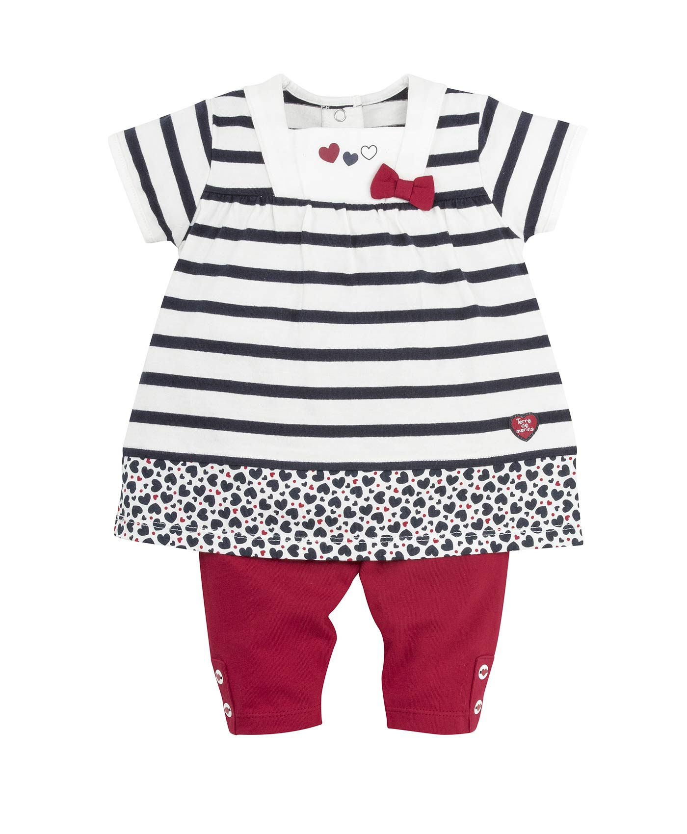 Tunique + leggings bébé fille rayé - Mode marine Destockage