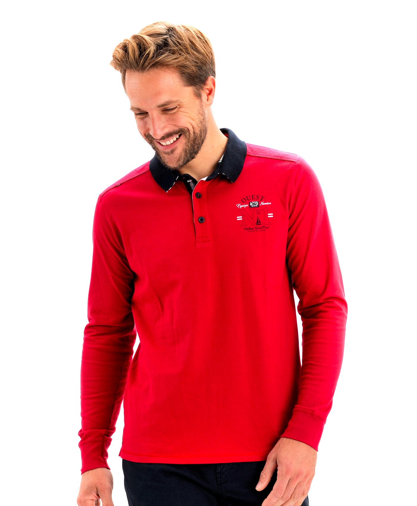Polo manches longues homme piment - Mode marine Homme