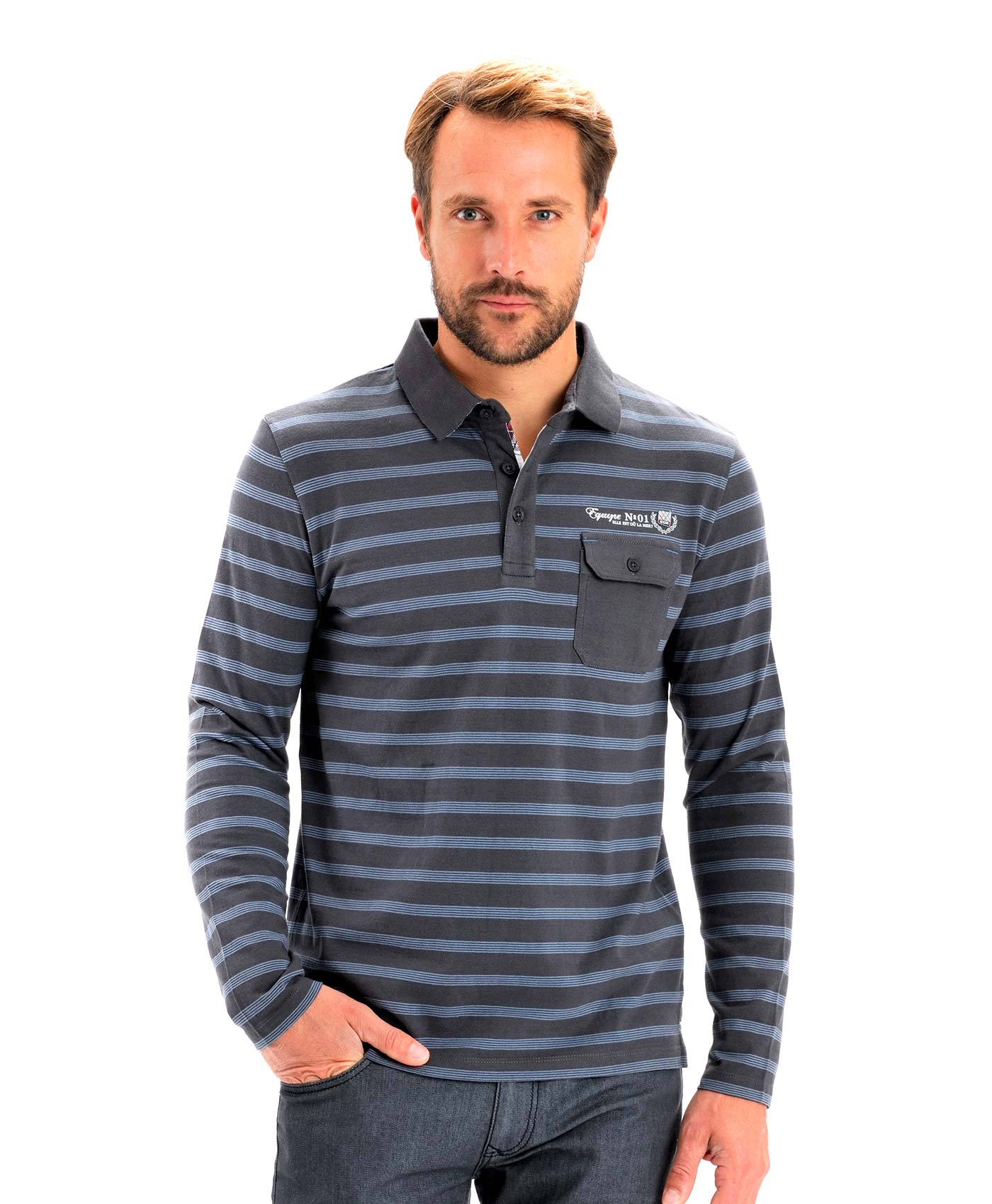 Polo manches longues homme rayé - Mode marine Homme