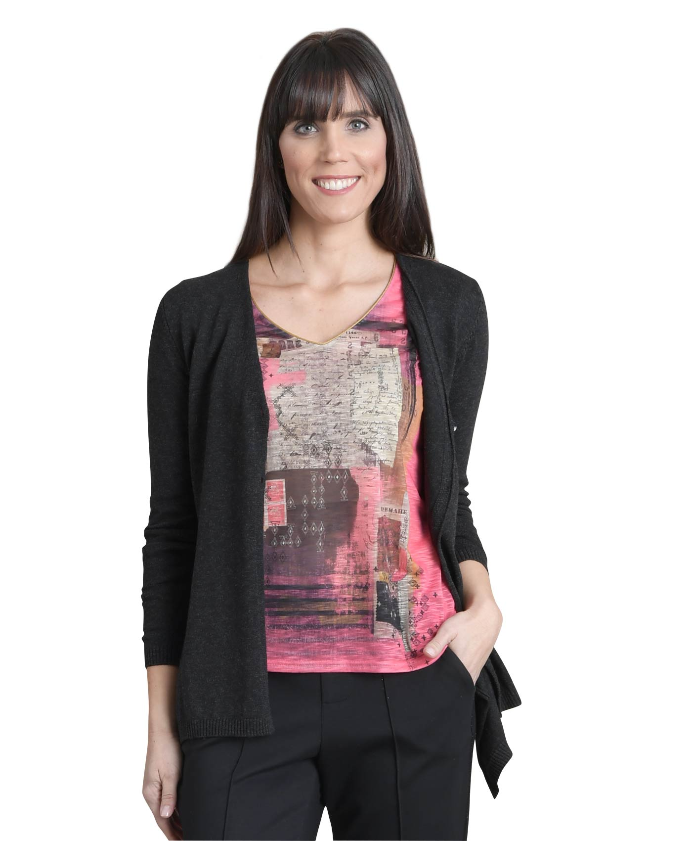 Cardigan femme gris anthracite chine - Mode marine Femme