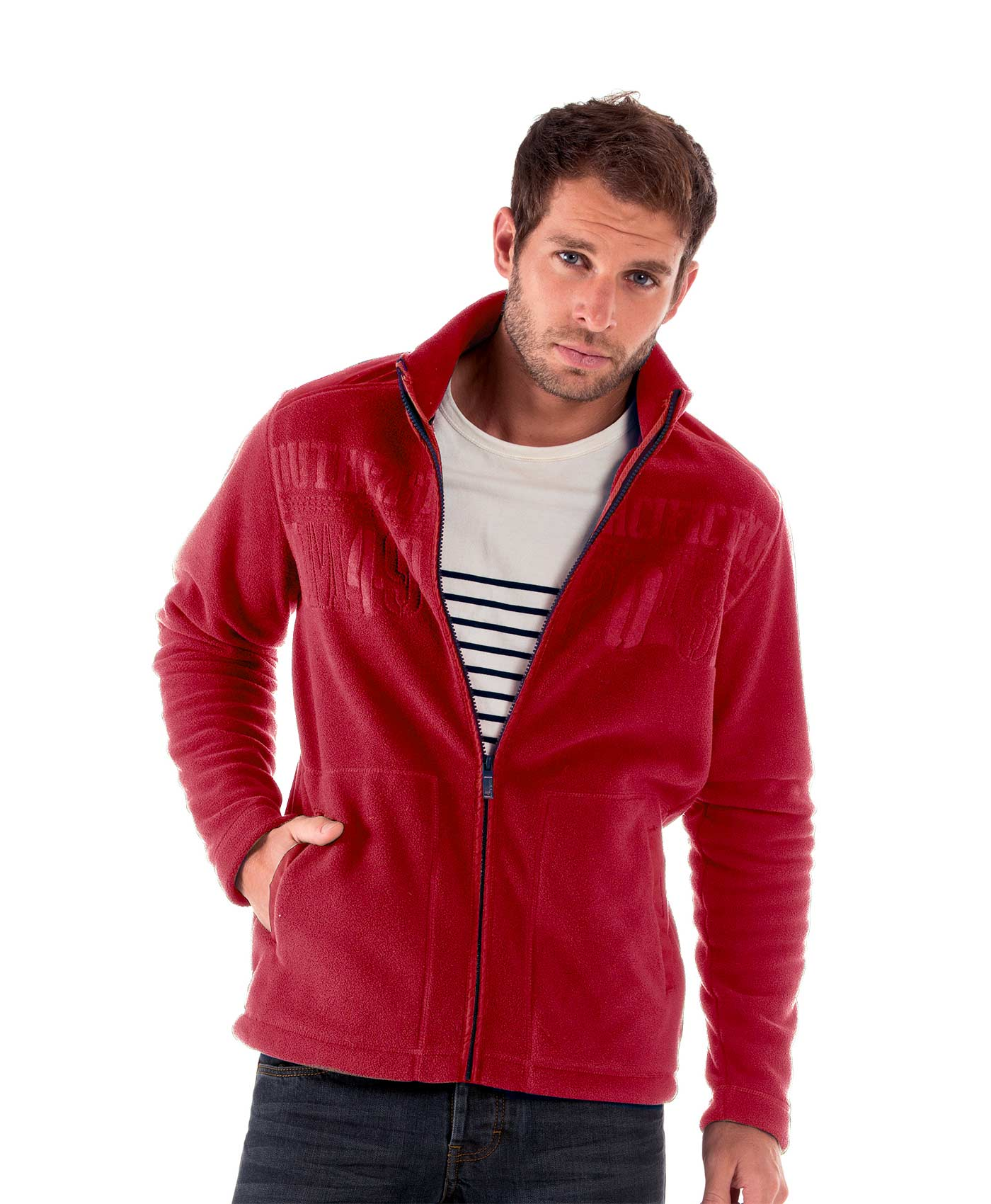 Polaire rouge homme - Mode marine Homme