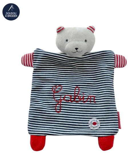 Doudou-personnalise-carre-ours-raye-marine