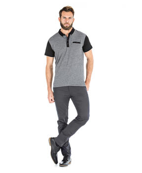 Polo gris manches courtes homme_1