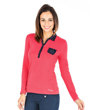 Polo rose manches longues femme - Mode marine Femme