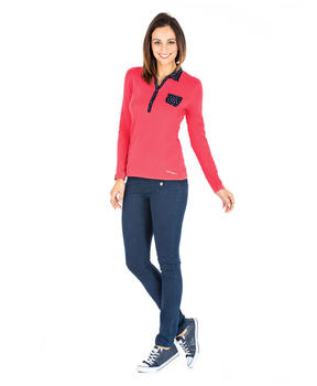 Polo rose manches longues femme_1