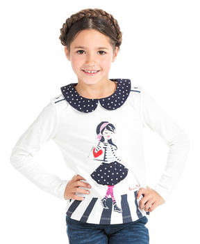T-shirt col claudine fille - Mode marine Enfant