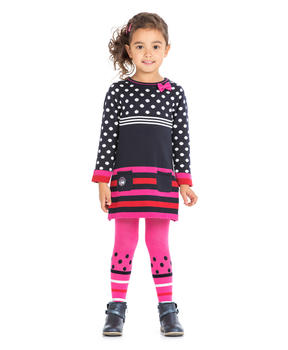 Robe pull rayée fille_1