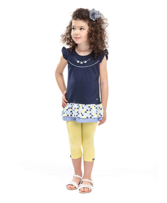 Legging court jaune fille - Mode marine Enfant