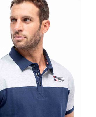 Polo bicolore homme - Mode marine Homme