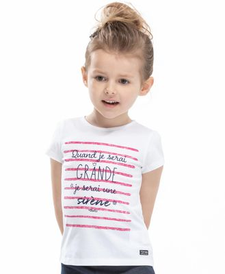 Tee-shirt à message fille - Mode marine Enfant