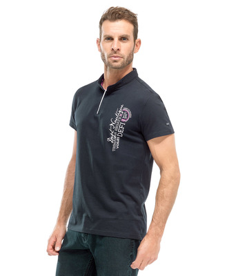 Tee-shirt bleu marine à inscription homme - Mode marine FINPromotions