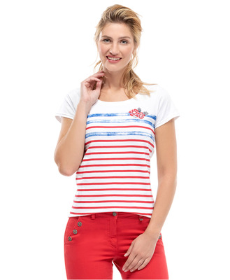 Tee-shirt manches courtes col rond - Mode marine Femme