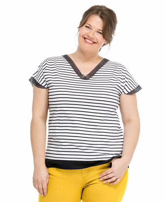 Tee-shirt rayures grande taille - Mode marine Femme