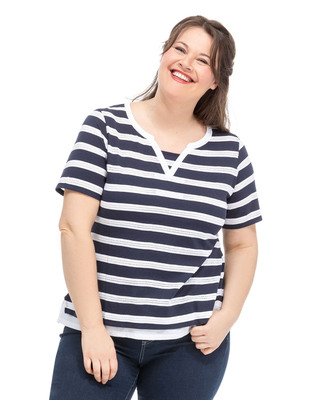 Tee-shirt manches courtes grande taille - Mode marine Femme