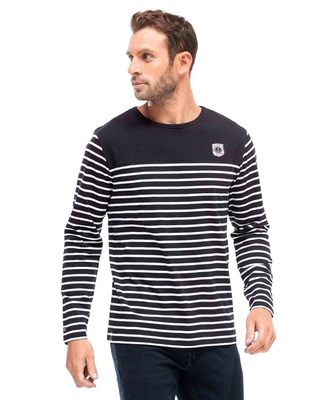 Tee-shirt manches longues marinière homme - Mode marine Homme