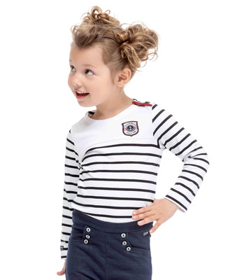 Tee-shirt rayé blanc manches longues fille - Mode marine Enfant