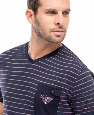 Tee-shirt à rayures rose pour homme - Mode marine Homme