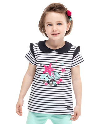 Tee-shirt rayé manches courtes fille - Mode marine Enfant
