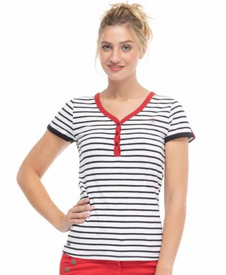 Tee-shirt manches courtes femme rouge - Mode marine Femme