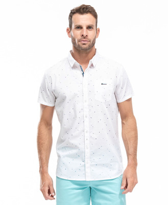 Chemise manches courtes imprime fond blanc - Mode marine Homme