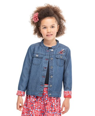 Veste denim à pois fille - Mode marine Enfant
