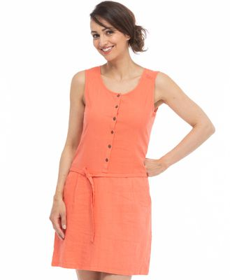 Robe courte chasuble corail - Mode marine Femme