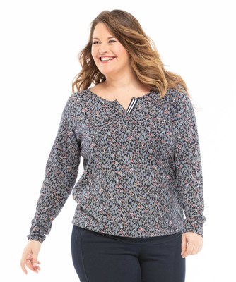 Tee-shirt manches longues grande taille - Mode marine Femme